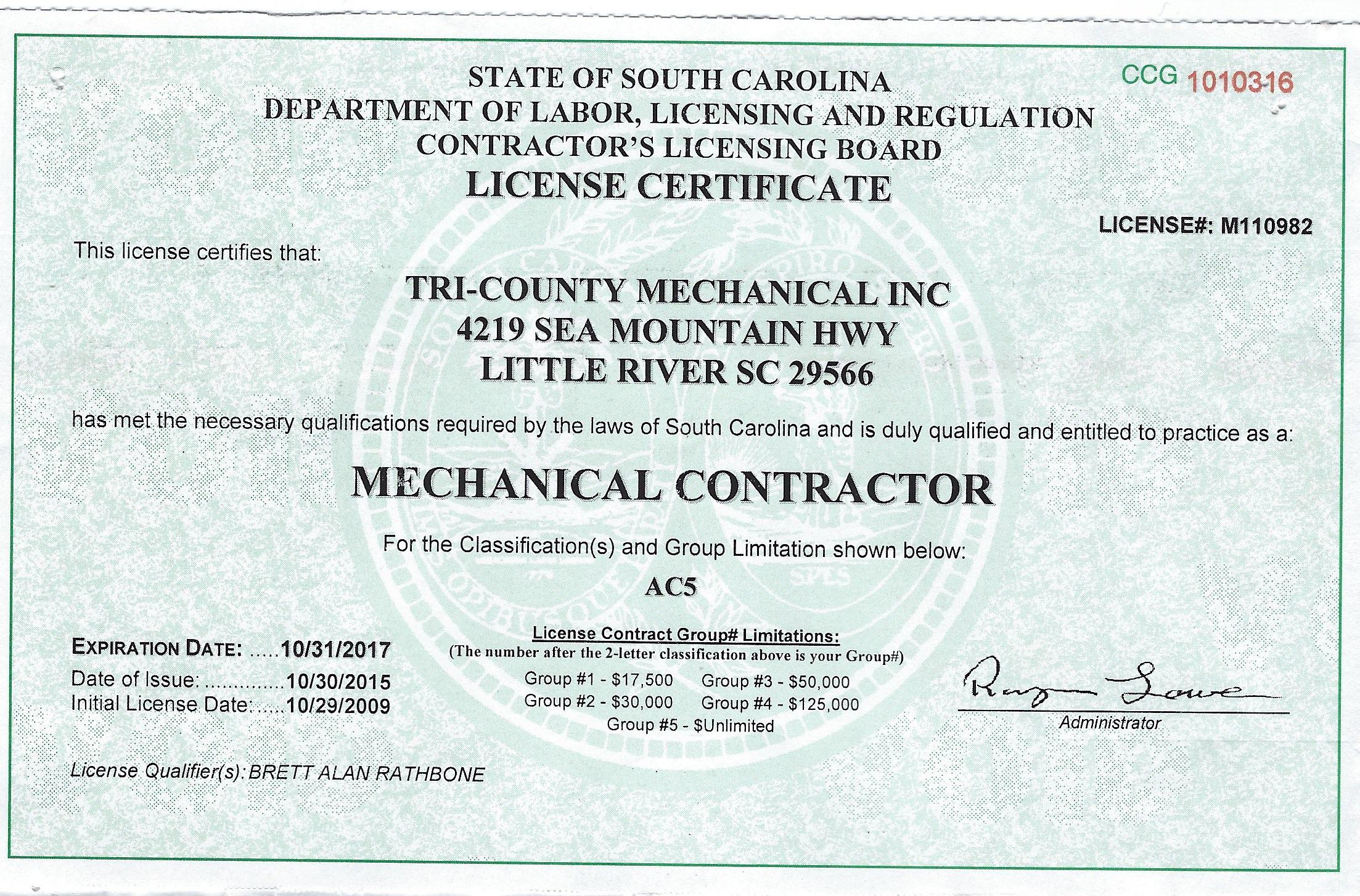 Hvac license in south carolina